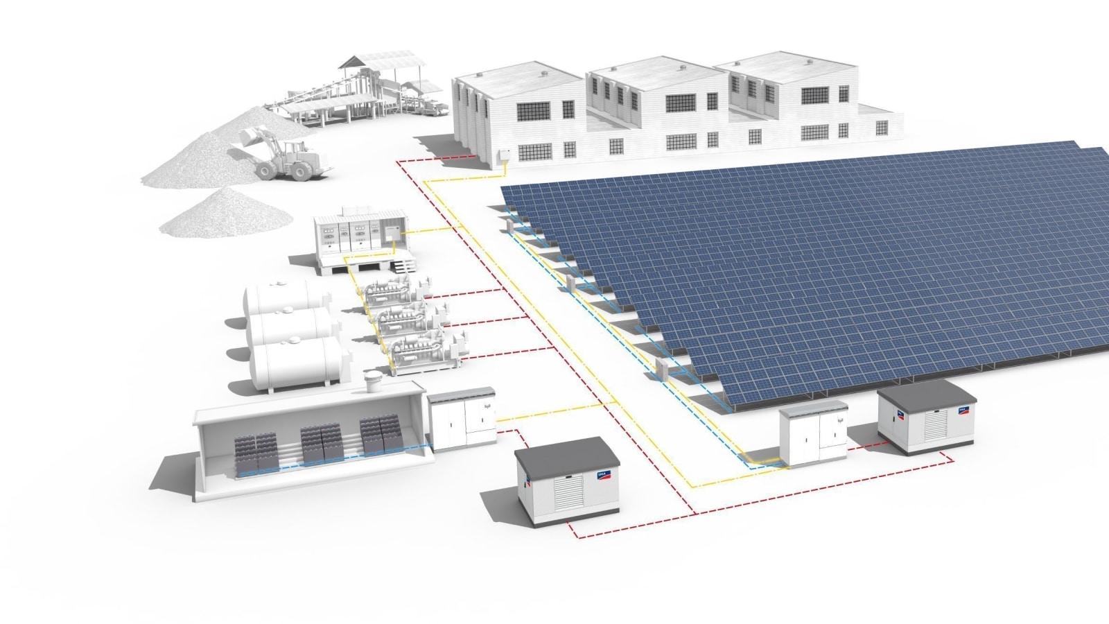Централизованная гибридная солнечно-дизельная электростанция