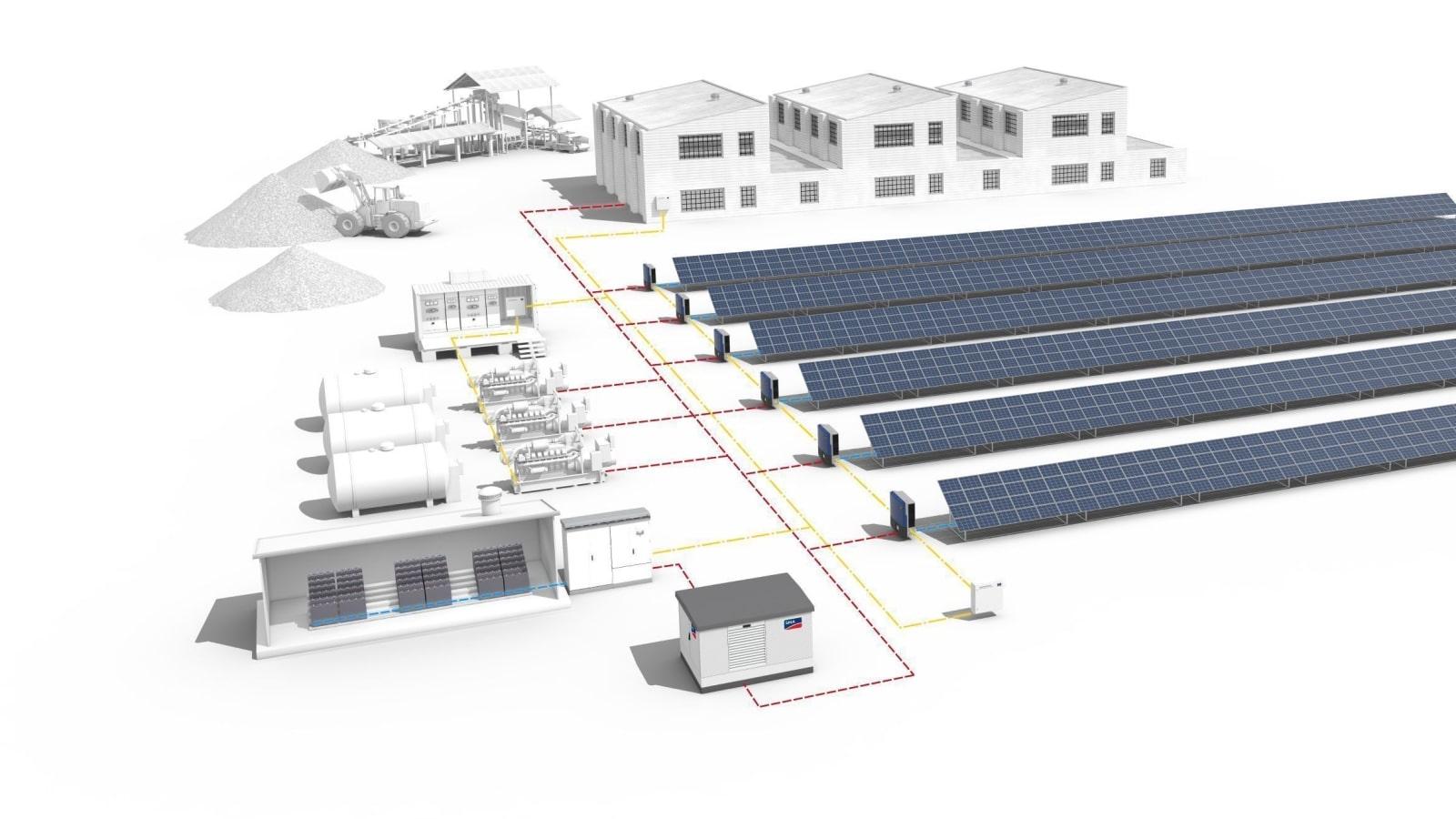 Децентрализованная гибридная солнечно-дизельная электростанция