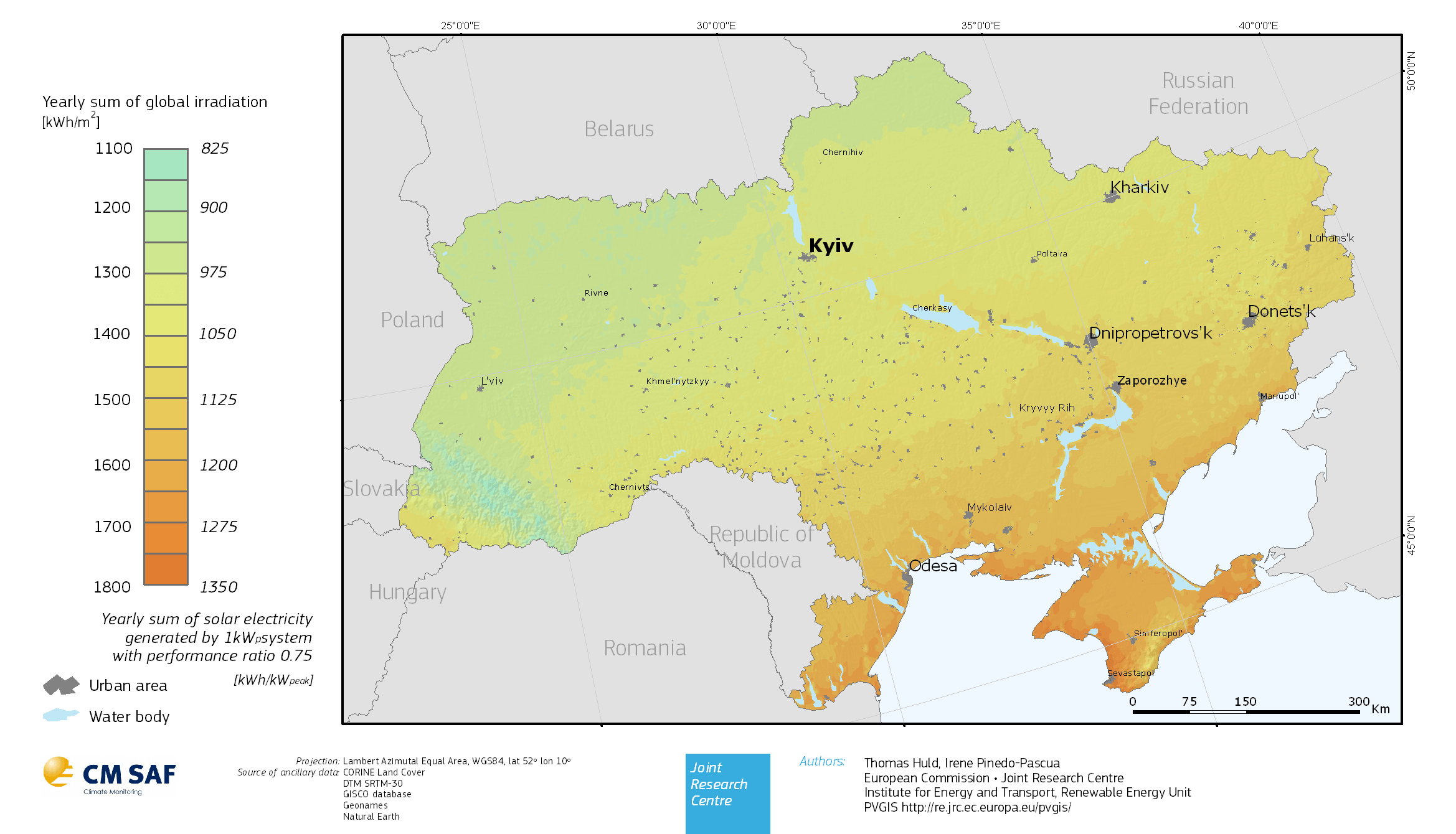 Fig. 3. Insolation and solar energy potential in Ukraine. Source: Renewable energy sector: Unlocking sustainable energy potential, National Investment Council of Ukraine, 2018.
