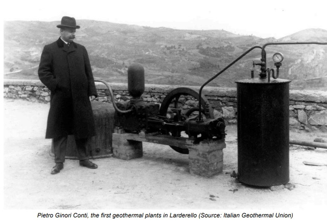 Photo 1. Piero Dzinori Conti, the first GeoTEC in Larderello, Italy. Source: Archives of the Italian Geothermal Association.