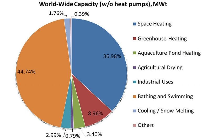 Fig. 1. The use of geothermal energy in the world without geothermal heat pumps, in % of the total installed capacity (MW). Data for 2015. Source: John W. Lund, Rugger Bertani, Tonya L. Boyd. Worldwide Geothermal Energy Utilization, 2015.