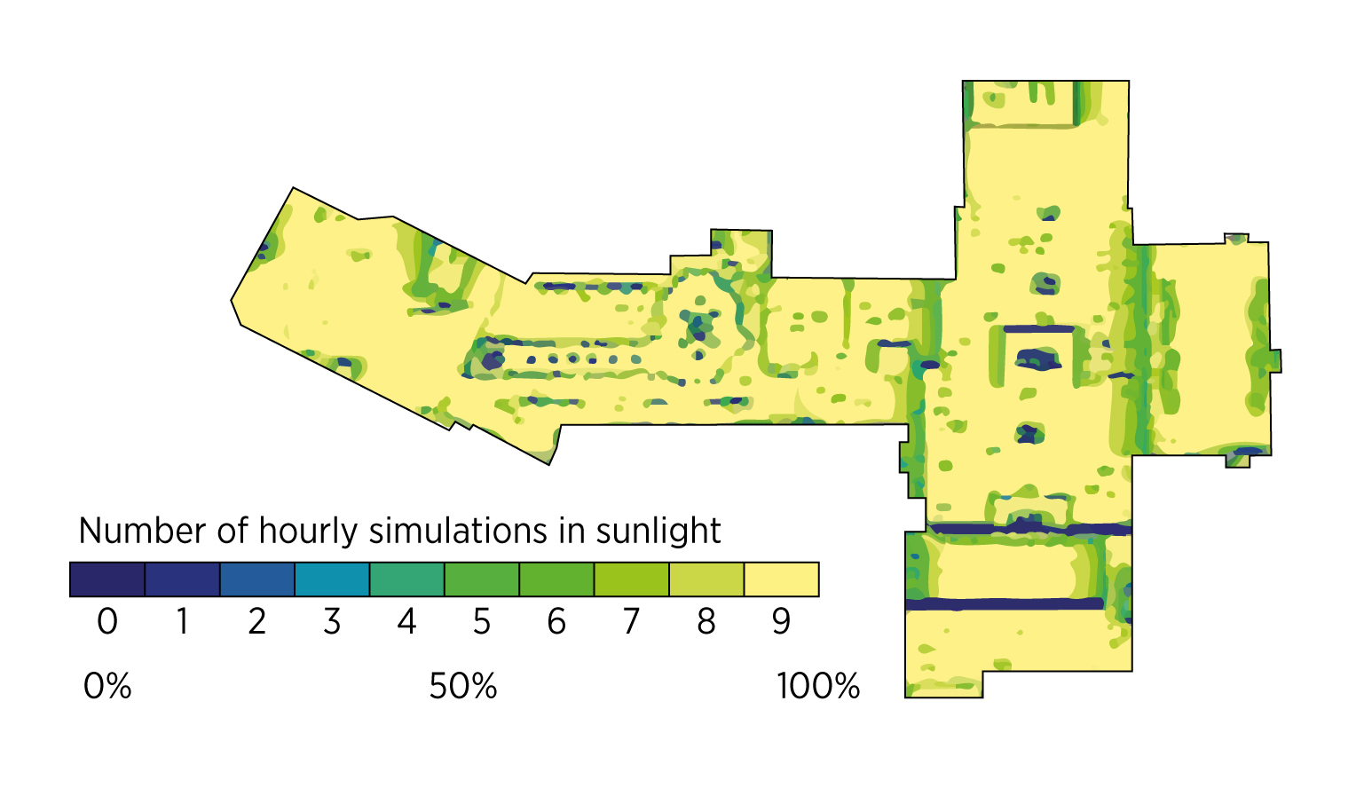 Fig. 5. An example of a map fragment with the average daily income of sunlight based on calculations of the solar simulator. IRENA,