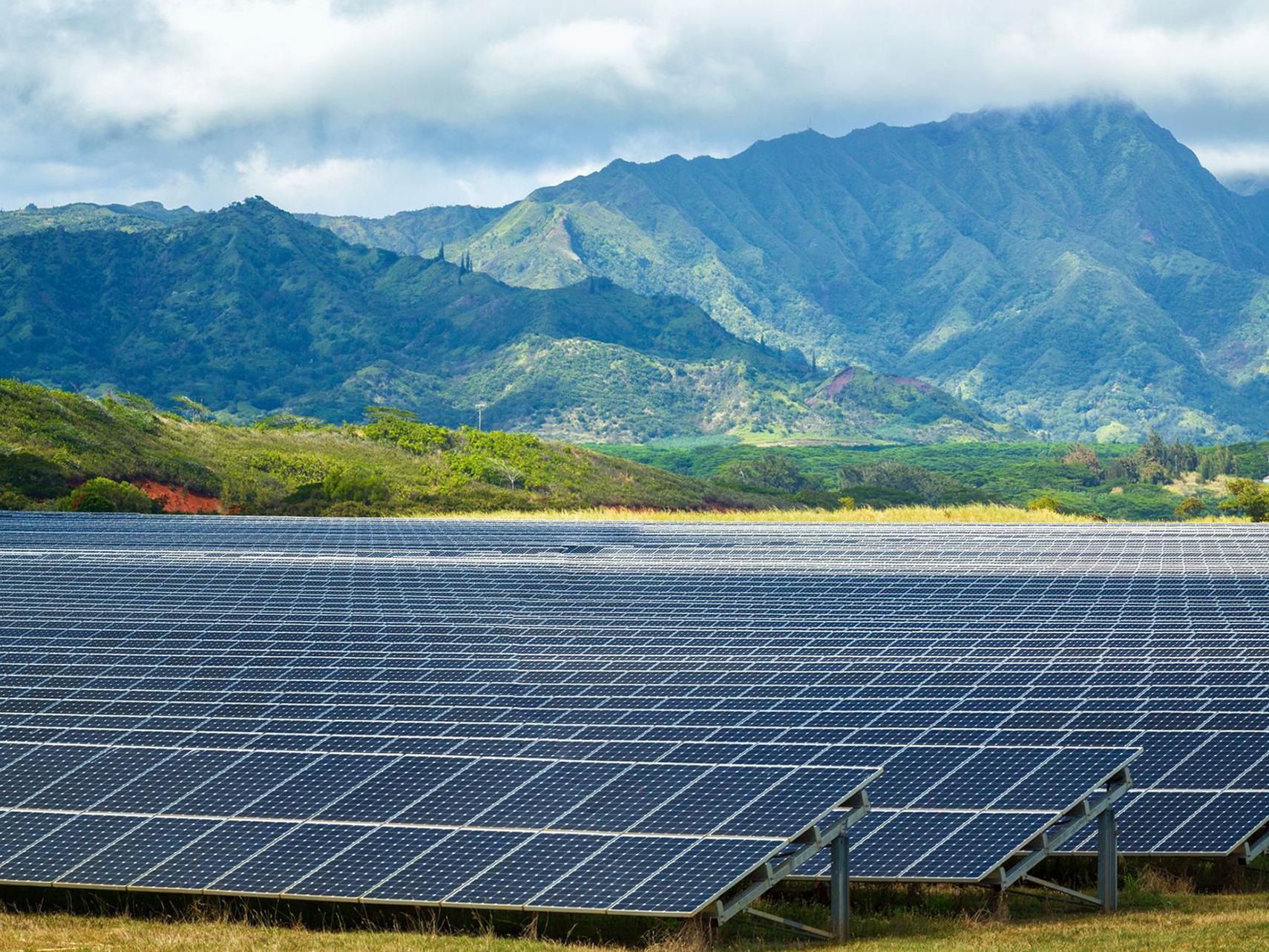 Фото: Сонячна електростанція в Поіпу, Кауаї, штат Гаваї, США.
