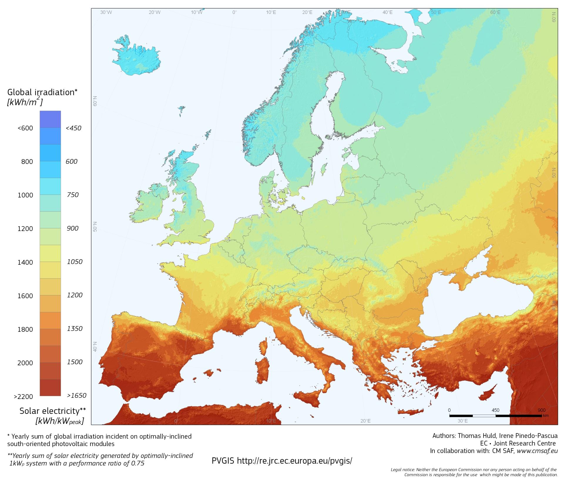 карта солнечной инсоляции европы