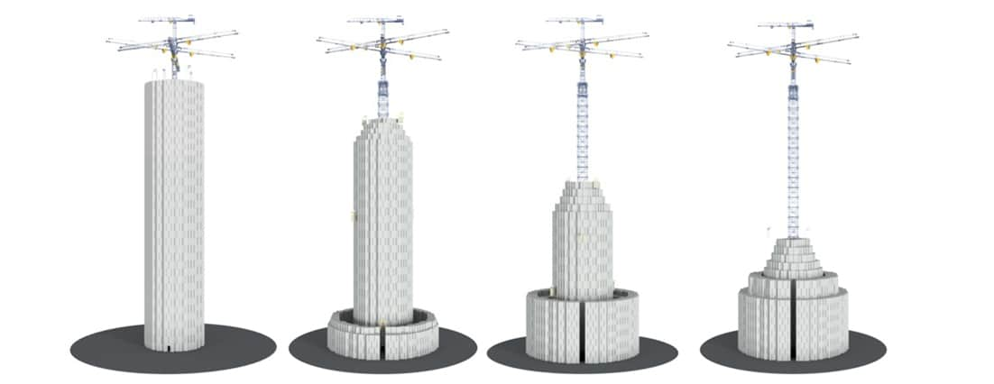 Fig. 4. The 122-meter tall towers of Energy Vault. Source: The Architect's Newspaper. This gravity-powered battery could be the future of energy storage. Nov'18.