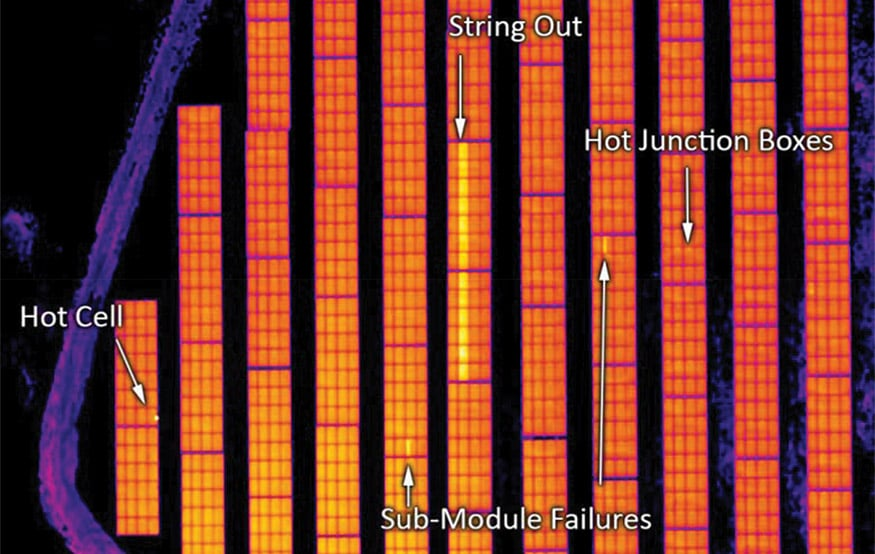 Fig. 2. Thermographic image of solar modules defects.
