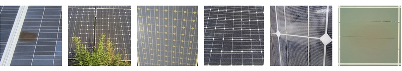 Photo 3. Visual modules inspection (from left to right): Hot Spot, Shadowing effects, Yellowing, Glass Breakage, Delamination, Ruptured Backsheet. Source: Scientific and economic comparison of outdoor characterization methods for photovoltaic power plants, Sciencedirect.com.